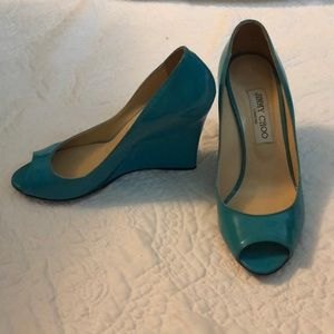 Jimmy Choo turquoise patent wedge